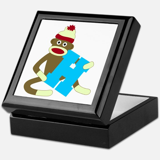 Sock Monkey Monogram Boy H Keepsake Box