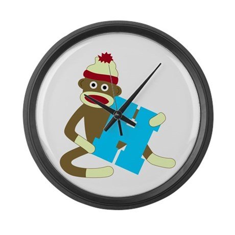 Sock Monkey Monogram Boy H Large Wall Clock