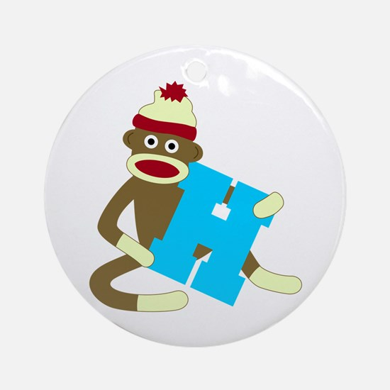 Sock Monkey Monogram Boy H Ornament (Round)