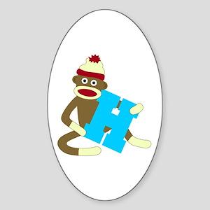 Sock Monkey Monogram Boy H Sticker (Oval)
