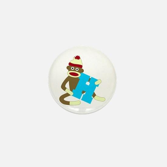Sock Monkey Monogram Boy H Mini Button