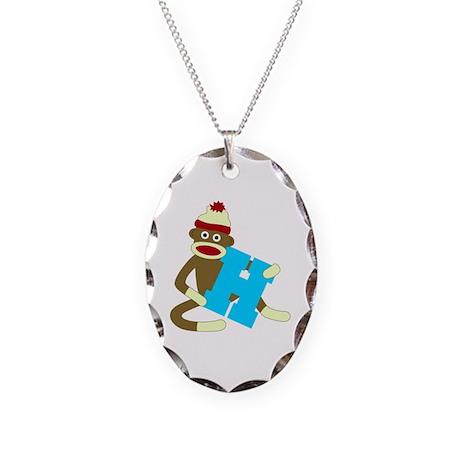 Sock Monkey Monogram Boy H Necklace Oval Charm