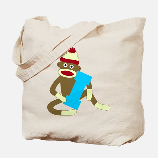Sock Monkey Monogram Boy I Tote Bag