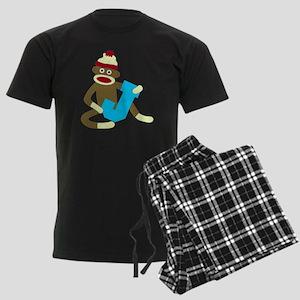 Sock Monkey Monogram Boy J Men's Dark Pajamas