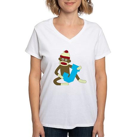 Sock Monkey Monogram Boy J Women's V-Neck T-Shirt
