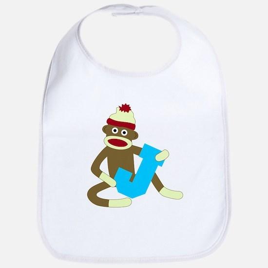 Sock Monkey Monogram Boy J Baby Bib