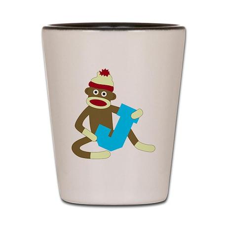 Sock Monkey Monogram Boy J Shot Glass