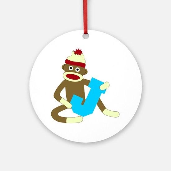 Sock Monkey Monogram Boy J Ornament (Round)
