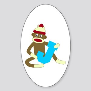 Sock Monkey Monogram Boy J Sticker (Oval)
