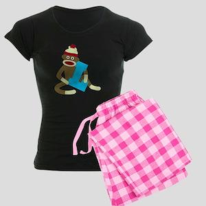 Sock Monkey Monogram Boy L Women's Dark Pajamas