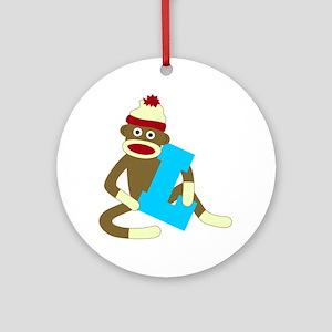 Sock Monkey Monogram Boy L Ornament (Round)