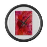 Pink Leaves Large Wall Clock