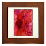 Pink Leaves Framed Tile