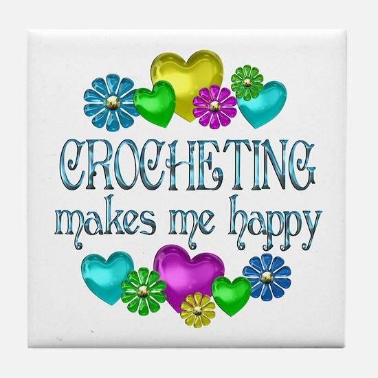 Crocheting Happiness Tile Coaster
