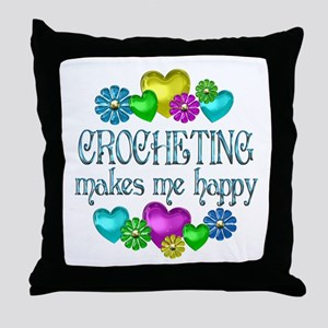 Crocheting Happiness Throw Pillow