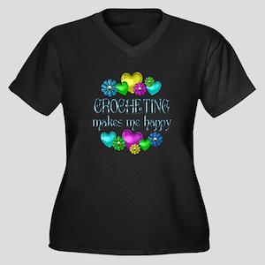 Crocheting Happiness Women's Plus Size V-Neck Dark