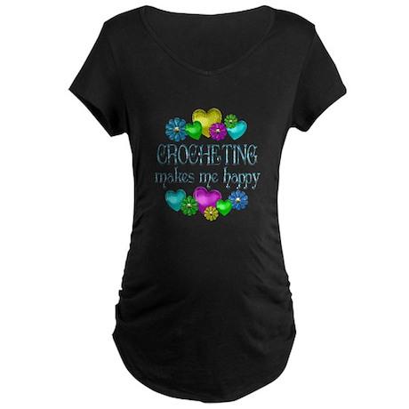 Crocheting Happiness Maternity Dark T-Shirt