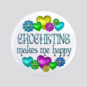 """Crocheting Happiness 3.5"""" Button"""