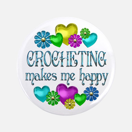 "Crocheting Happiness 3.5"" Button (100 pack)"