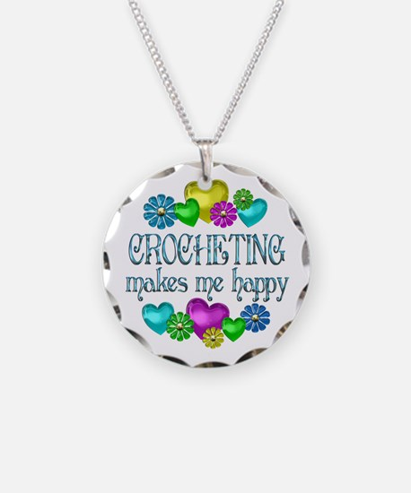 Crocheting Happiness Necklace Circle Charm