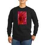 Pink Leaves Long Sleeve Dark T-Shirt