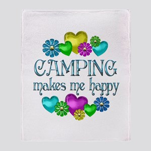 Camping Happiness Throw Blanket