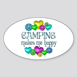 Camping Happiness Sticker (Oval)
