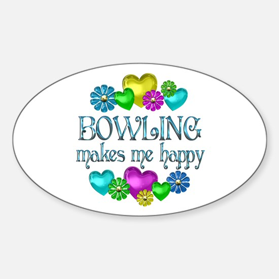 Bowling Happiness Sticker (Oval)