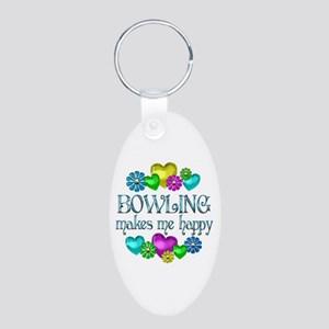 Bowling Happiness Aluminum Oval Keychain