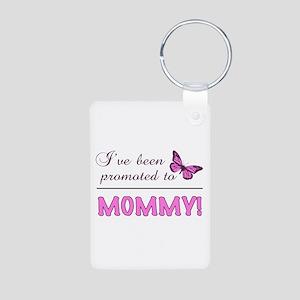 Promoted To Mommy Aluminum Photo Keychain