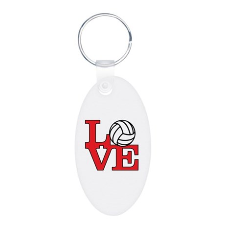 Volleyball Love - Red Aluminum Oval Keychain