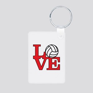 Volleyball Love - Red Aluminum Photo Keychain