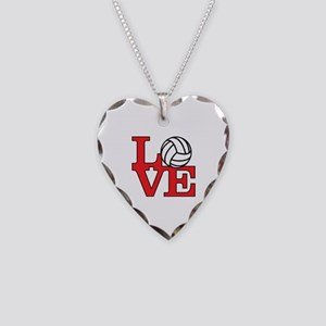 Volleyball Love - Red Necklace Heart Charm