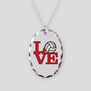 Volleyball Love - Red Necklace Oval Charm