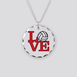 Volleyball Love - Red Necklace Circle Charm