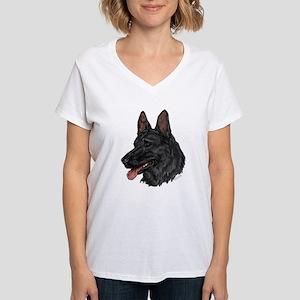 Black German Shepherd face T-Shirt