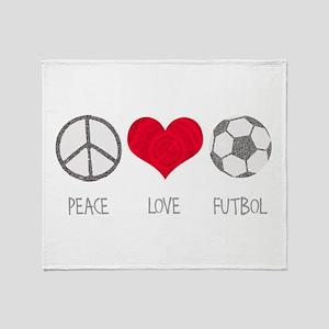 Peace Love Futbol Throw Blanket