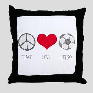 Peace Love Futbol Throw Pillow