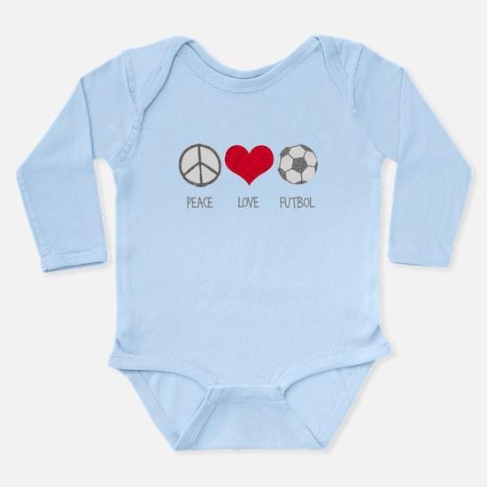 Peace Love Futbol Long Sleeve Infant Bodysuit