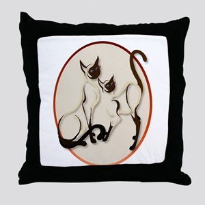 Two Siamese Cats Throw Pillow