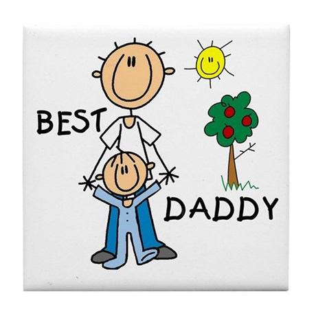 Best Daddy With Son Tile Coaster