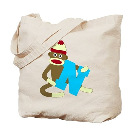 Sock Monkey Monogram Boy N Tote Bag