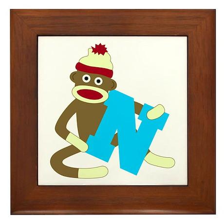 Sock Monkey Monogram Boy N Framed Tile
