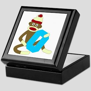 Sock Monkey Monogram Boy O Keepsake Box
