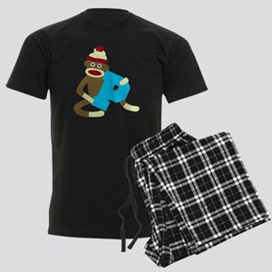 Sock Monkey Monogram Boy P Men's Dark Pajamas
