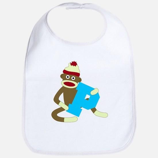 Sock Monkey Monogram Boy P Baby Bib