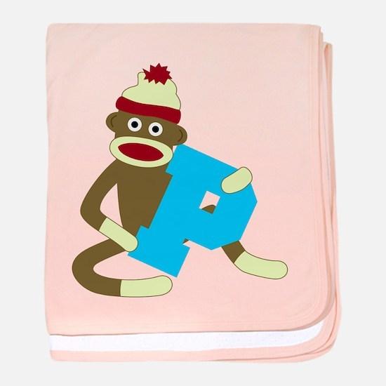 Sock Monkey Monogram Boy P baby blanket