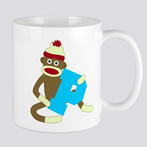 Sock Monkey Monogram Boy P Coffee Mug