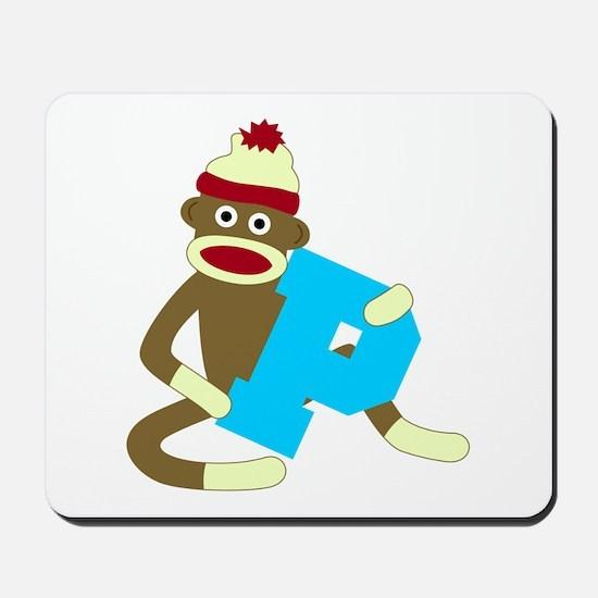 Sock Monkey Monogram Boy P Mousepad