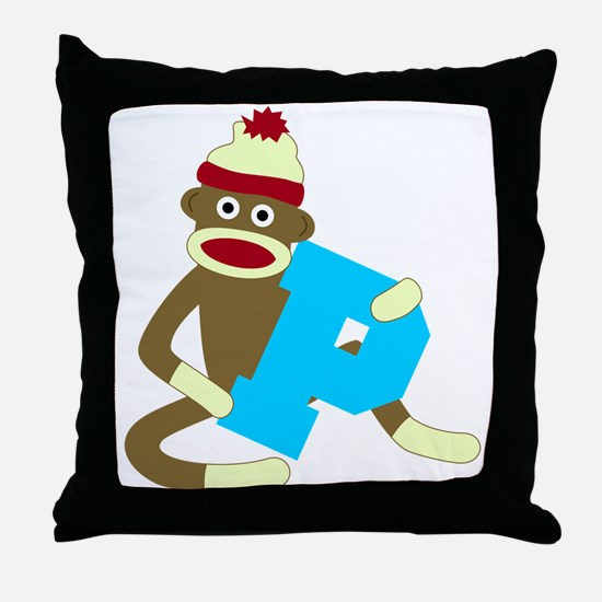 Sock Monkey Monogram Boy P Throw Pillow